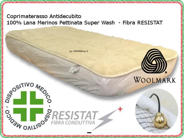 Coprimaterasso Antidecubito In Lana Merinos Carbonio Antistatico